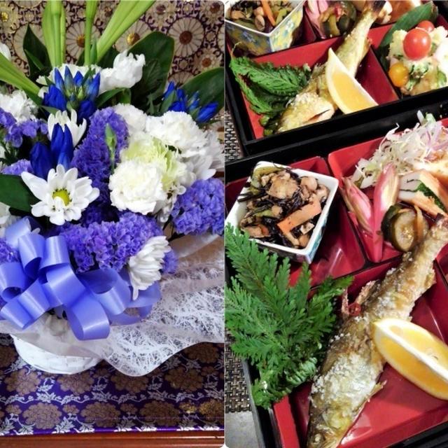 ■【お盆の入りでお供え御膳と 娘夫婦から届きましたお花のご紹介です♪】