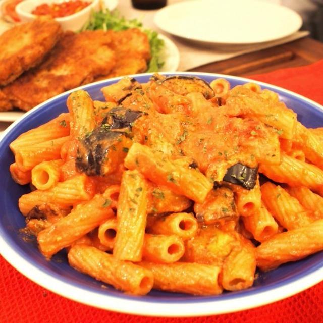 【パスタ】簡単&時短☆揚げナスのトマト豆乳クリームペンネ トルティリオーニを使って♪