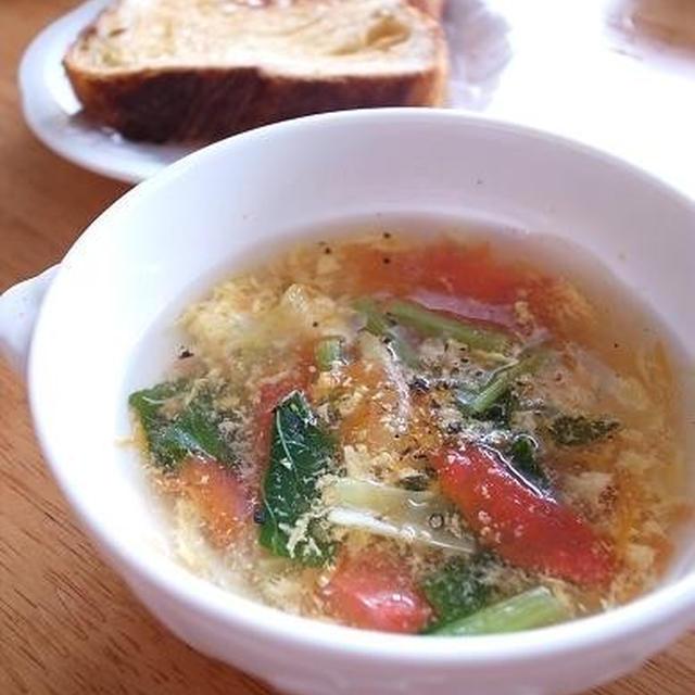 朝一汁のススメ。トマトと卵のさっぱりスープ|ジョギングシミュレーターで走った距離をチェック