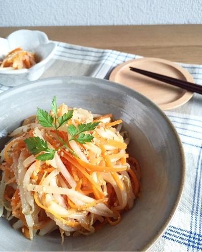 もやしと人参の明太ナムル♪他の副菜。昨日の戦利品♪ブログの時間。