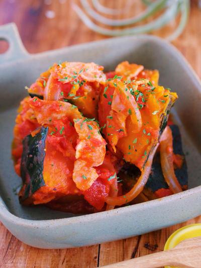 甘いおかずが苦手な方に♪お鍋で10分♪『かぼちゃとトマトの洋風うま煮』