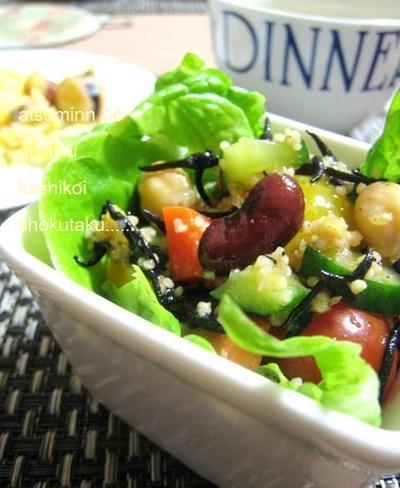美☆レシピ☆豆と雑穀の赤酢マリネ