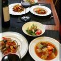 ◆野菜たっぷりトマトスープと春菊サラダ♪~クリスマス料理色々♪