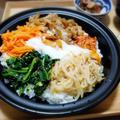 【家ごはん/献立】 ビビンバ♪ [レシピ] レンジでナムル/ 韓国わかめスープ
