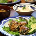 豚薄切り肉とれんこんのつくね と たらこ豆腐。