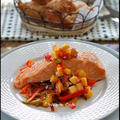 サーモンのピーチサルサ添え**Steamed salmon with peach salsa by hannoahさん