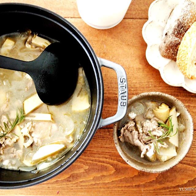 新玉ねぎと筍のローズマリー塩麹スープ