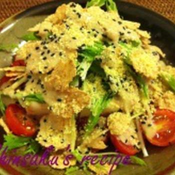 パリパリ玄米フレークと豆腐のごまドレシーザーサラダ