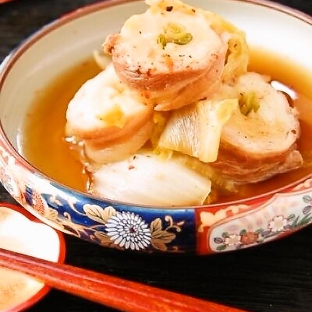 白菜と豚バラのネギ入りちくわぶ巻き煮&かりかり揚げ☆