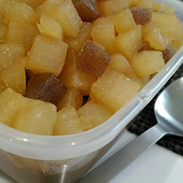 《簡単*安い*おつまみ*ダイエット》こんにゃくと大根の煮物。レシピ掲載くらしのアンテナ。
