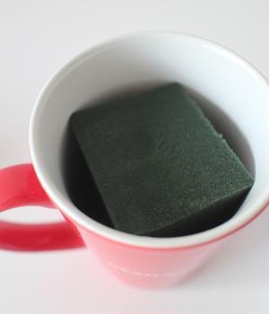 2.マグカップの中に1の吸水性スポンジをセットします。この際にスポンジの高さは、器のフチより2㎝ほど...