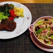 牛肉の特売日はじめての部位を選んだよ☆ベーコンと小松菜の和風パスタ♪☆♪☆♪