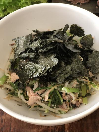 鯖缶と大根の葉のマヨネーズ和え