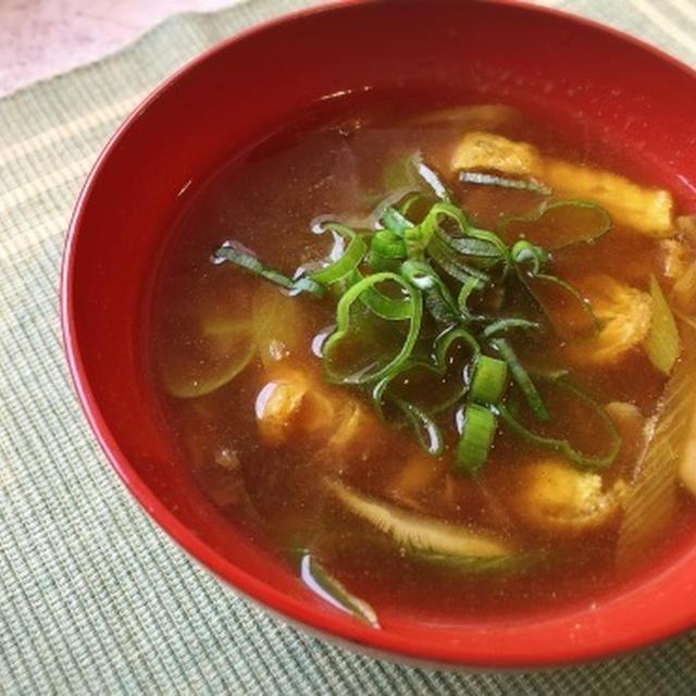 簡単! 即席 長ネギと油揚げのカレー南蛮風スープ