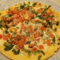 トマトとチーズ、パセリのオープンオムレツ