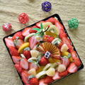 お正月に!フルーツたっぷり♪重箱抹茶スコップケーキ