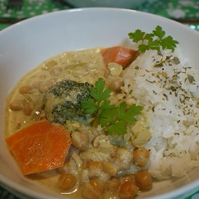 ひよこ豆のグリーンカレー