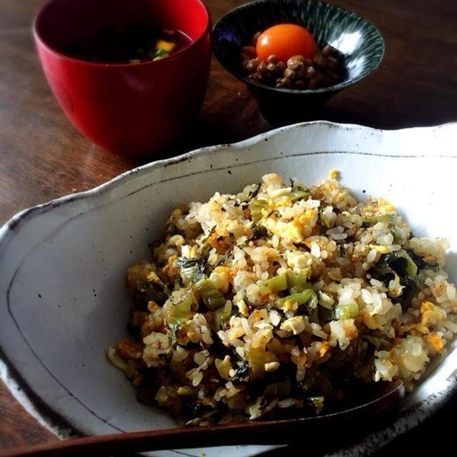 青高菜とちりめんの炒飯。
