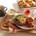 簡単!いちごのパンナコッタ♡リッチバターロールパン➕サラダ➕スープで朝ごはん。