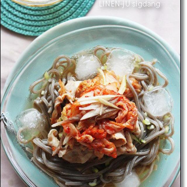 冷しゃぶキムチの氷蕎麦☆レシピモニター参加中