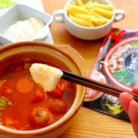 【なべしゃぶ】とろ~りモッツァレラチーズ しゃぶしゃぶガーリックトマトつゆ の作り方レシピ