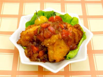 ☆鶏唐揚げのトマト黒酢あんかけ☆