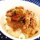 牛肉の中落ちカルビのわさび醤油ソース丼