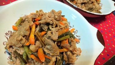 【レシピ】節約★ピリ辛★ご飯がススム~★おつまみにも【豚肉とにんにくの芽のピリ辛炒め】