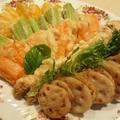 蓮根の挟み揚げとオーストラリア野菜の天ぷら