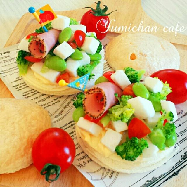 ♡食パンde作る♪サラダ風♡ブロッコリーチーズはんぺんオープンサンド♡