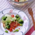 パンとサーモンの野菜たっぷりサラダ☆スパイスクッキングでドレッシング