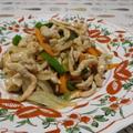 細切りの肉と野菜で生姜焼き