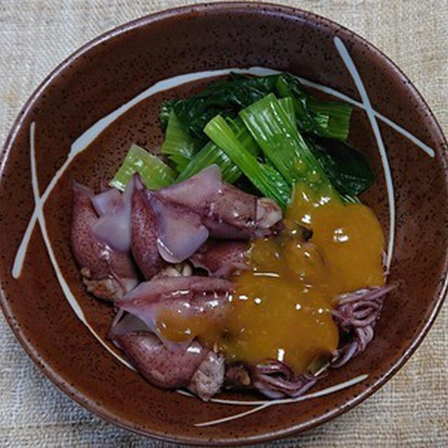 ホタルイカと小松菜のからし酢味噌掛け