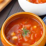 大豆とベーコンのトマトのスープ