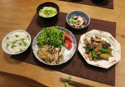 豆ご飯&鰆のホイル焼&豚と茄子の味噌炒めの晩ご飯 と 薔薇:お写んぽ♪