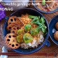 鮭フレ―ク丼♪蓮根チップス&芽キャベツのせて残り物ご飯