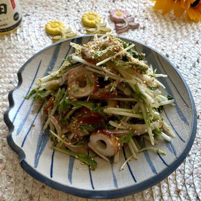 火を使わずにあと一品!水菜とみょうがとちくわの梅肉米油和え