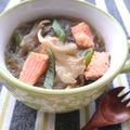 簡単塩鮭と舞茸と白ネギの春雨スープ(ダイエット)