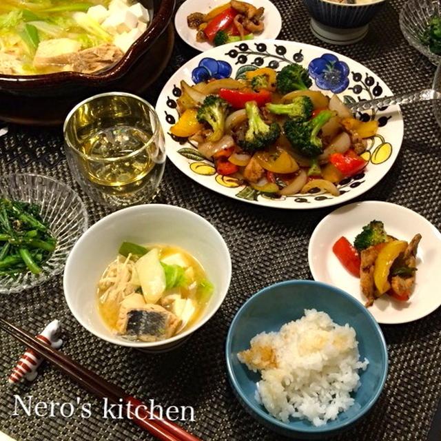 鶏胸肉のオイスターソース炒め・鮭のアラ汁