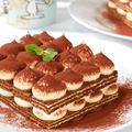 ティラミスチーズケーキ♪ 型もスポンジも火も使わず簡単♪ティラミスサンド