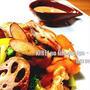 *【日経レシピ】おなか喜ぶ♪根菜たっぷり焼きサラダ ゴマソースがけ*