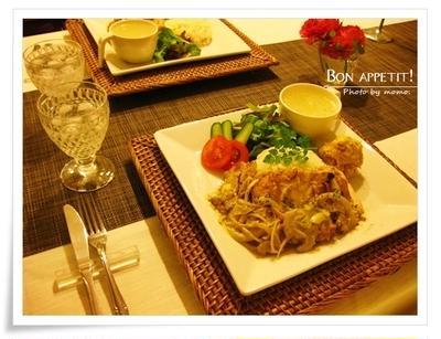 香味野菜とチキンのココナッツマリネソテーをワンプレートで♪(レシピ付き)