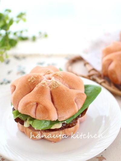 桜のお花見ハンバーガー