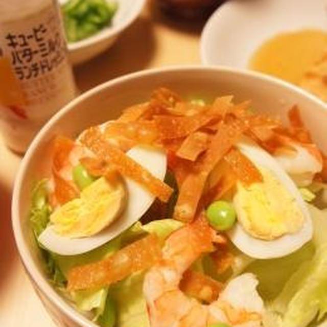 キューピー えびと枝豆の春色サラダ ぱりぱりワンタン添え