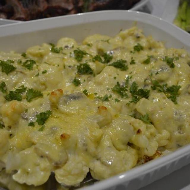 おもてなし野菜料理 カリフラワーとマッシュルームのグラタン & リビングの模様替え