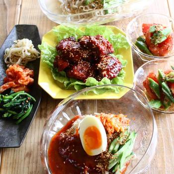 ビビン麺とヤンニョムチキンでランチ