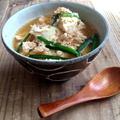 【簡単!!レンジで一発】包丁いらず!ひき肉と豆腐のおかずスープと、塩豚と、みかん