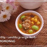炒り豆腐でヘルシー坦々スープ♡枝豆コーンたっぷり♪素麺のつけダレにもイケる