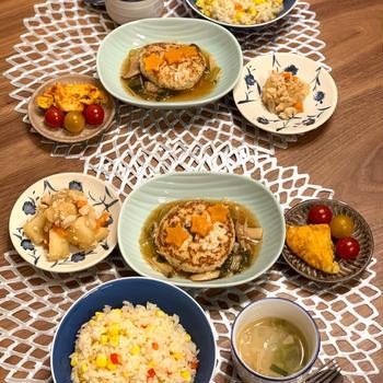 七夕ごはん とろ〜り餡掛けハンバーグ 夏のイタリアン麺