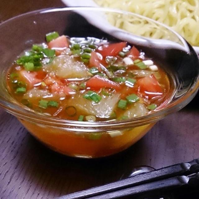 簡単☆切って混ぜるだけ!簡単☆河内晩柑とトマトの冷やしつけ麺